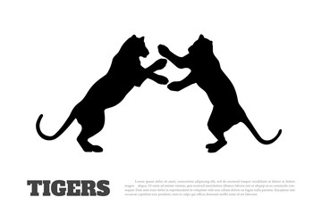 Black silhouette of fighting tigers on white background. Isolated image. Icon of wildcat
