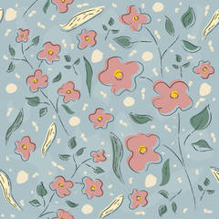 Floral Seamless Pattern. Hand Drawn.