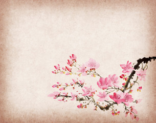Fototapete - plum blossom and bamboo on old antique paper texture
