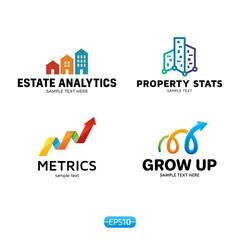 Metrics Analytics Logo Vector Template Set