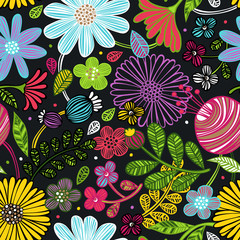 Floral ornament. Leaves. Seamless vector pattern (background).
