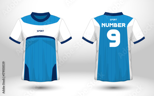 Layout football sport t-shirt design  Template front, back view