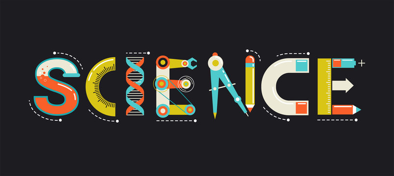 Science banner, typography and background