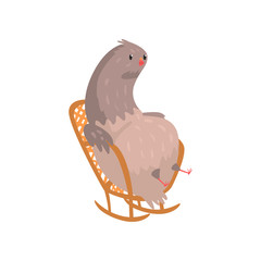 Fat dove sitting in rocking chair