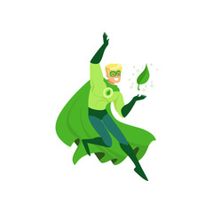 Cartoon character of eco superhero with powers in action