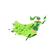 Flying eco superhero female in costume