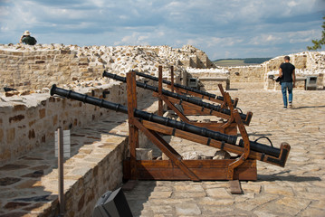 Enclosure wall with protective cannons, medieval Fortress of the