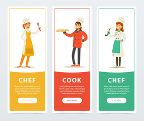 Set of vertical banners with restaurant workers
