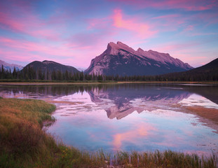 Printed kitchen splashbacks Purple Vermillion Lakes Sunset in Banff Canada