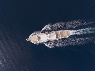 Super yacht top view during cruise