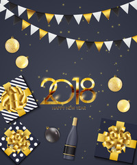 2018 New Year and Merry Christmas Background. Vector Illustration