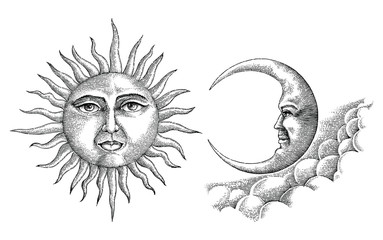 Vintage moon and sun hand drawing vintage style