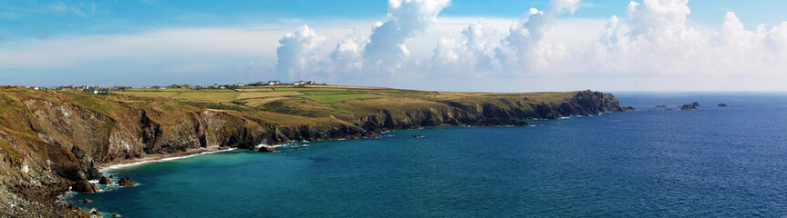 Panoramic view of western cliffs of Lizard Peninsula  Cornwall, England, UK