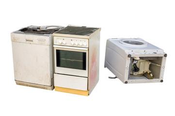 Alte Elektrogeräte isoliert