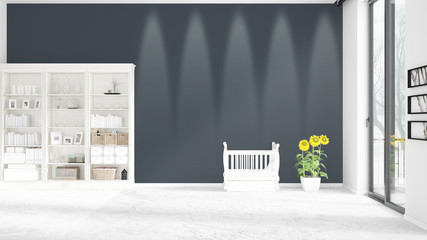 Scene with brand new interior in vogue with white rack and baby bed. 3D rendering. Horizontal arrangement.