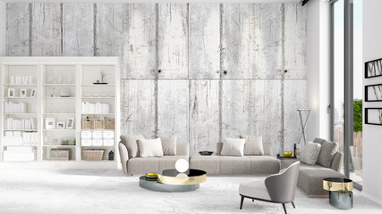 Scene with brand new interior in vogue with white rack and modern grey sofa. 3D rendering. Horizontal arrangement.