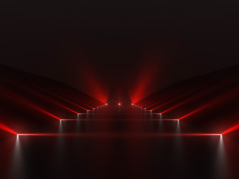 Futuristic dark red podium with light and reflection background