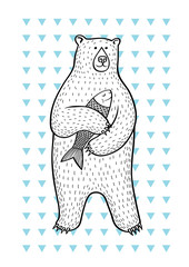 bear/Drawing of bear with fish on the background of blue triangles.