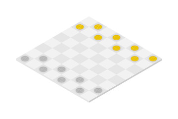 Business Checkers Game set, Dollar coin concept idea illustration isolated on white background
