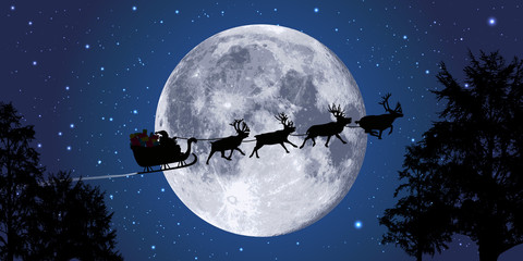 noël - père noël -lune - cadeaux - renne - concept, traineau - réveillon - clair de lune