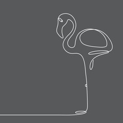 Continuous line flamingo staying on one leg. Abstract modern decoration, logo. Vector illustration. One line drawing of bird form.