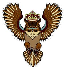 Portrait of an owl in a crown