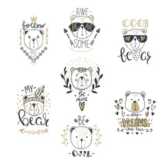 Big Vector collection with  cute fashion bears. Stylish teddy bear set. Trendy design in sketch style  t-shirt print, cards, poster.Doodle kids animals series. Funny character.