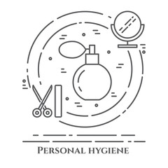 Personal hygiene line banner. Set of elements of shower, soap, bathroom. Poster with cleaning pictograms. Concept for website, card, infographic, advertise.