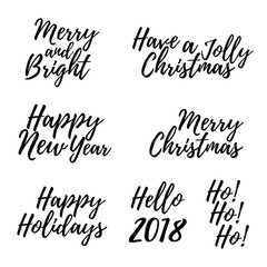 Set of Merry Christmas card with calligraphy text. Template for Greetings, Congratulations, Housewarming posters, Invitations, Photo overlays. Vector illustration