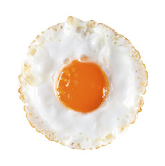 Fried egg isolated on white background with clipping path