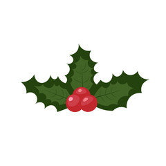 Christmas holly berries isolated on white background. Simple vector illustration with red berries and green leaves.