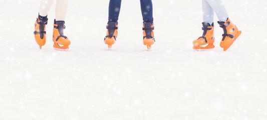 Foto op Plexiglas In het ijs Closeup of legs in skating shoes. Blank copy space.