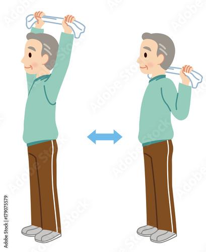 タオルを使った体操 高齢者 健康fotoliacom の ストック写真と