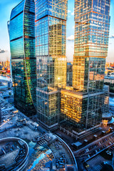 High rise buildings of Moscow business center