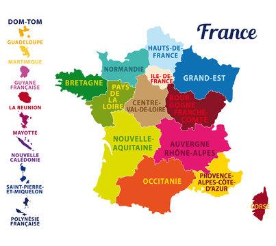 Carte de France avec ses 13 nouvelles régions. Map of France with 13 new regions since 2016.
