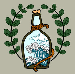 A bottle with a cork in which the sea roar,