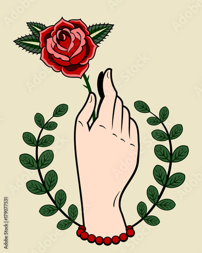 A Hand Holding A Rose Drawing In The Style Of Old School Tattoos