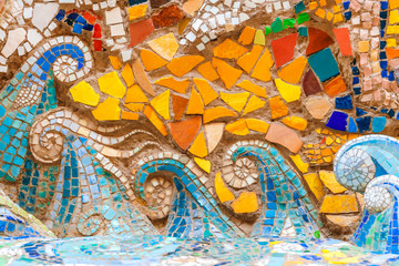 Detail of beautiful old abstract ceramic mosaic  with the image of sea waves