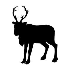 Reindeer silhouette. Black white icon. Christmas logo design. Vector illustration.