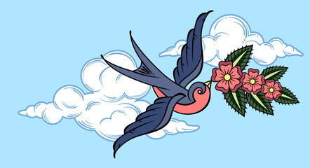Swallow carrying flowers