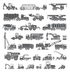 Big set of construction equipment. Special machines for the construction work. Forklifts, cranes, excavators, tractors, bulldozers, trucks. Special equipment. Road repair. Commercial Vehicles. Icons