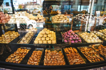 Variety of sweets and desserts in a shop