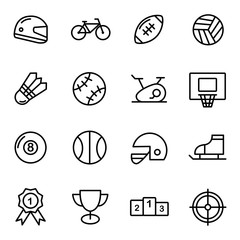 16 Fitness and Sport vector icons for web and mobile