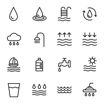Water icon set in thin line style.  High quality black outline drop symbols for web site design and mobile apps.