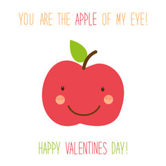 Cute unusual hand drawn Valentines Day card with funny cartoon character of apple
