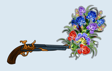 Revolver, shooting a bouquet of flowers