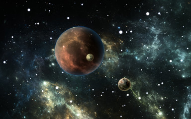 Exoplanets or Extrasolar planets with stars on background nebula, 3D illustration