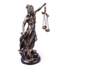 Statue of Justice Themis on the white background