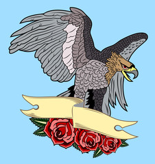 Eagle on banner and roses background