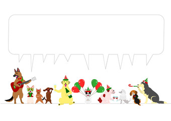 Christmas dogs border with speech bubbles